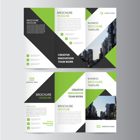 Green black elegance business trifold business Leaflet Brochure template minimal flat design 免版税图像 - 56758311
