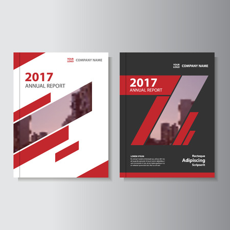book cover design: Red annual report Leaflet Brochure template design, book cover layout design Illustration