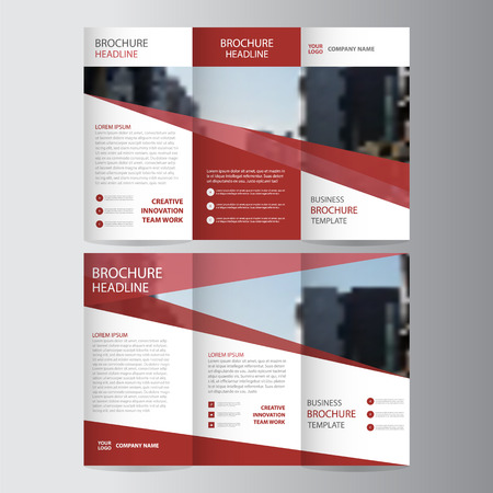 Red elegance business trifold business Leaflet Brochure template minimal flat design set