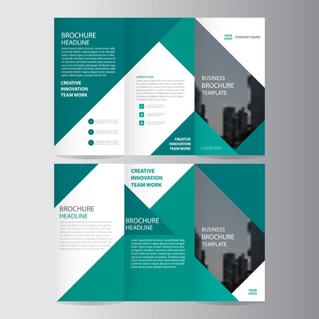 Green elegance business trifold business Leaflet Brochure template minimal flat design set 矢量图像