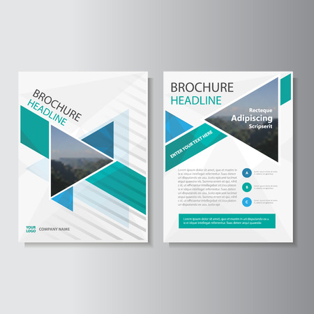 Blue Green Triangle annual report Leaflet Brochure template design, book cover layout design