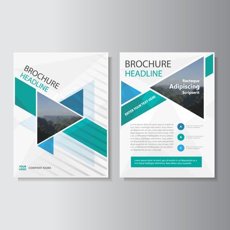 rapport annuel Blue Green Triangle Dépliant Brochure conception du modèle, la conception couverture du livre de mise en page