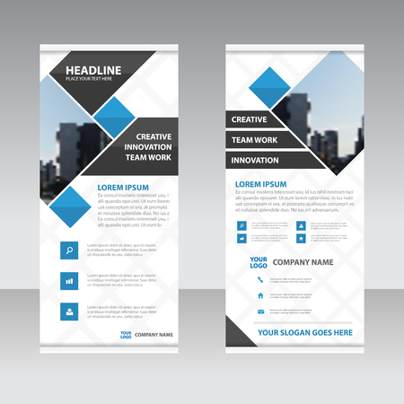 BANNER DESIGN: Blue Square Abstract roll up banner template design for advertising marketing website Illustration