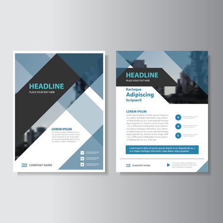 Blue and black Abstract corporate Leaflet Brochure Flyer template design, book cover layout design Vector Vettoriali