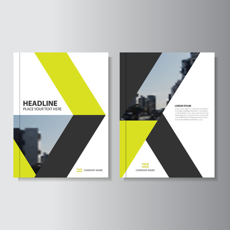 yellow vector: Yellow black Vector annual report Leaflet Brochure Flyer template design, book cover layout design
