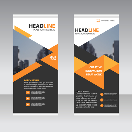 Orange black triangle Business Roll Up Banner flat design template ,Abstract Geometric banner Vector illustration set