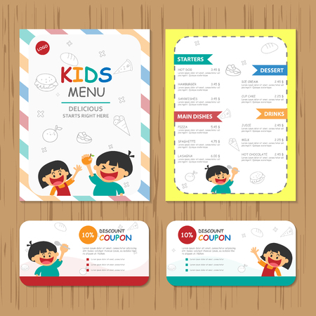 sandwish: Cute colorful kids meal menu vector template with happy boy and girl Illustration