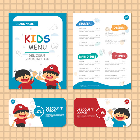 cartoon cake: Cute Blue theme kids meal menu vector template with happy 2 boys pirate Illustration