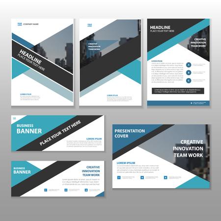 Blue black Multipurpose corporate annual report brochure flyer leaflet magazine template layout design, abstract blue black presentation template,  business banner design set Ilustrace