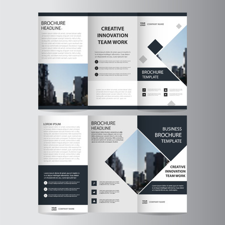 Black elegance business trifold Leaflet Brochure Flyer template vector minimal flat design set