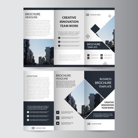 Black elegance business trifold Leaflet Brochure Flyer template vector minimal flat design set