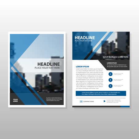 Blue Vector annual report Leaflet Brochure Flyer template design, book cover layout design, abstract business presentation template, a4 size design