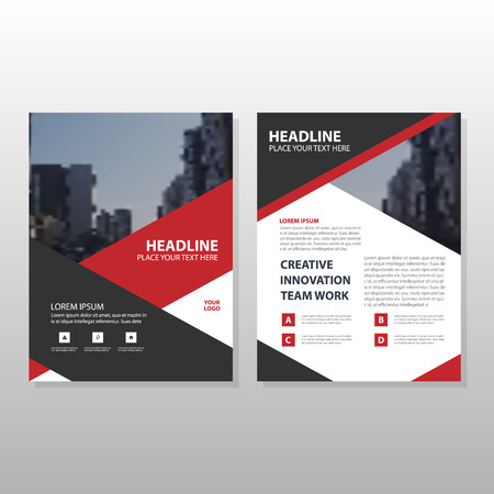 Red black triangle Leaflet Brochure Flyer annual report template design, book cover layout design, abstract business presentation template, a4 size design 向量圖像