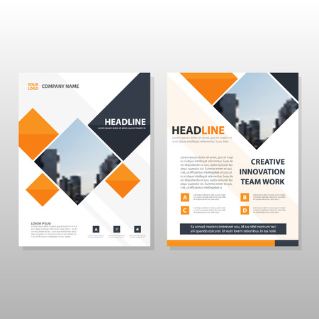 Orange black square annual report Leaflet Brochure Flyer template design, book cover layout design, abstract business presentation template, a4 size design vector
