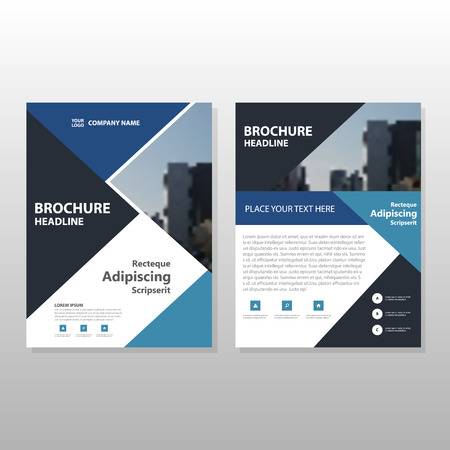 advert: Blue black Triangle Vector annual report Leaflet Brochure Flyer template design, book cover layout design, abstract business presentation template, a4 size design