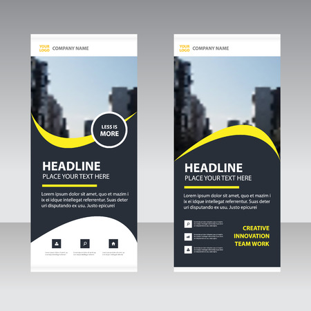 Yellow black elegance Business Roll Up Banner flat design template ,Abstract Geometric banner template Vector illustration set, abstract presentation template Vectores