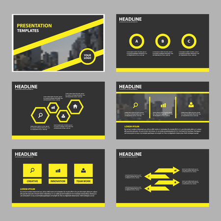 Yellow black Abstract presentation templates, Infographic elements template flat design set for brochure flyer leaflet marketing advertising banner template Illustration