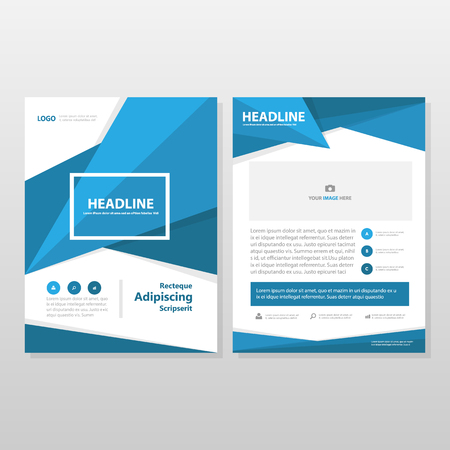 blue book: Blue Vector annual report Leaflet Brochure Flyer template design, book cover layout design, abstract business presentation template, a4 size design