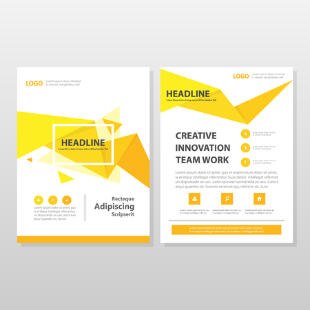 business graphics: Yellow orange triangle Vector annual report Leaflet Brochure Flyer template design, book cover layout design, abstract business presentation template, a4 size design Illustration