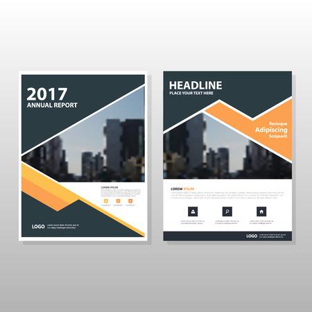 Orange triangle noir vecteur rapport annuel Dépliant Brochure Flyer conception de modèle, conception couverture du livre de présentation, résumé modèle de présentation de l'entreprise, a4 conception de taille