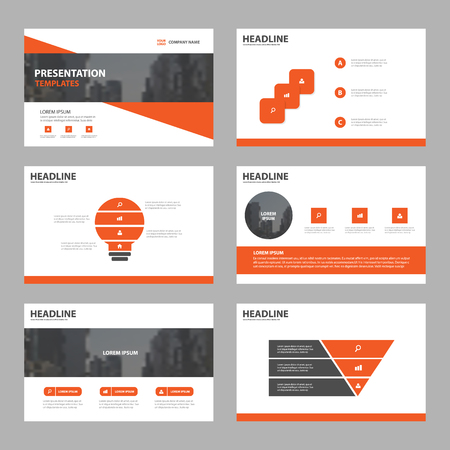Orange Abstract presentation templates, Infographic elements template flat design set for brochure flyer leaflet marketing advertising banner template 向量圖像