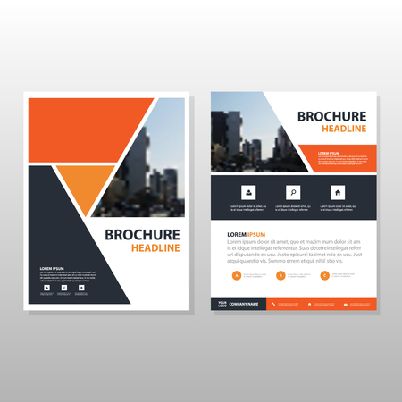 cover: Orange black triangle annual report Leaflet Brochure Flyer template design, book cover layout design, abstract business presentation template, a4 size design Vector