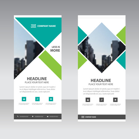 Green Square Business Roll Up Banner platte design template, Abstracte Geometrische banner template Vector illustratie set, abstracte voorstelling template