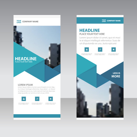 Blue Triangle Business Roll Up Banner flat design template ,Abstract Geometric banner template Vector illustration set, abstract presentation template