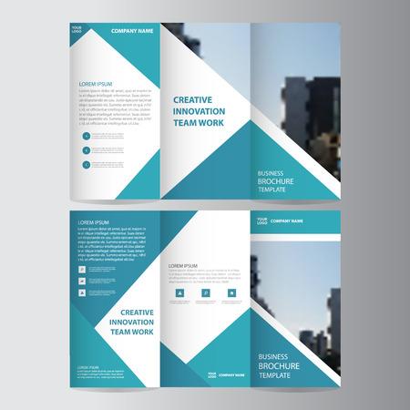 青い三角形ビジネス 3 つ折りリーフレット パンフレット チラシ レポート テンプレート ベクトル最小フラット デザイン、プレゼンテーション レイ  イラスト・ベクター素材
