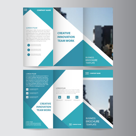 Blue triangle business trifold Leaflet Brochure Flyer report template vector minimal flat design set, abstract presentation layout templates a4 size