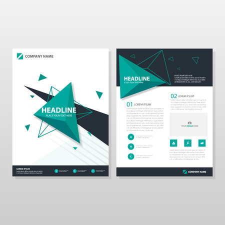 business graphics: Green triangle Vector annual report Leaflet Brochure Flyer template design, book cover layout design, abstract business presentation template, a4 size design
