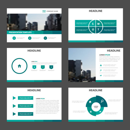 Green Abstract multipurpose presentation templates, Infographic elements template flat design set for brochure flyer leaflet marketing advertising banner template Illustration