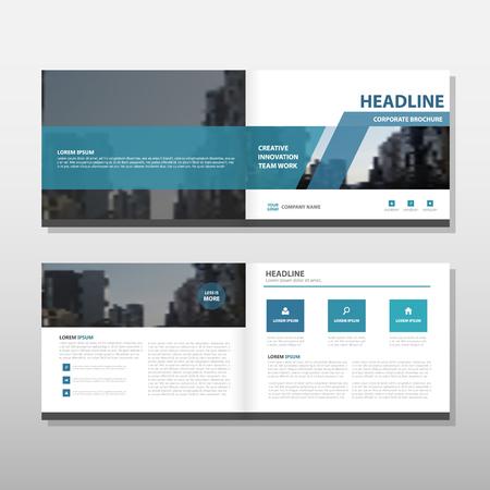 青いベクトル パンフレット リーフレット チラシ年次報告書テンプレート デザイン ブック カバー レイアウト デザイン、抽象的なビジネス プレゼ  イラスト・ベクター素材