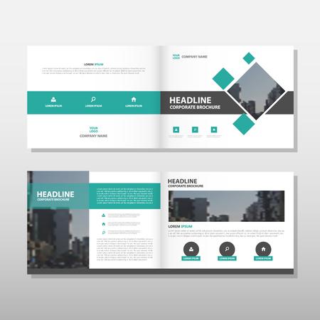 緑ベクトル パンフレット リーフレット チラシ年次報告書テンプレート デザイン ブック カバー レイアウト デザイン、抽象的なビジネス プレゼン