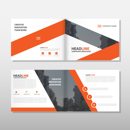 advert: Orange Brochure Leaflet Flyer annual report template design, book cover layout design, abstract business presentation template, a4 size design vector