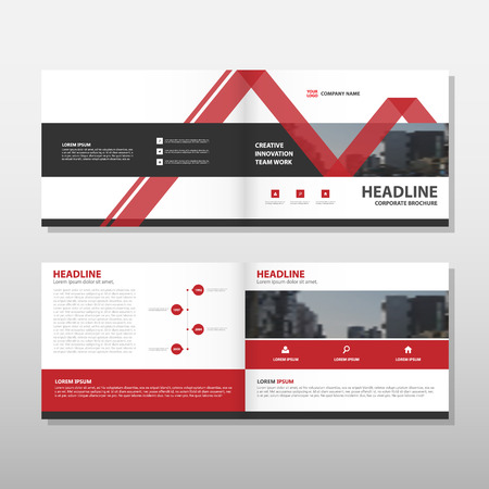 Red Vector rapport annuel Dépliant Brochure Flyer conception de modèle, conception couverture du livre de présentation, résumé modèle de présentation de l'entreprise, a4 conception de taille