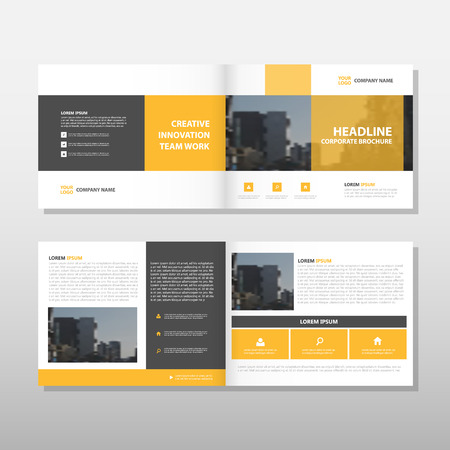 Yellow Brochure Leaflet Flyer annual report template design, book cover layout design, abstract business presentation template, a4 size design vector Stock Illustratie