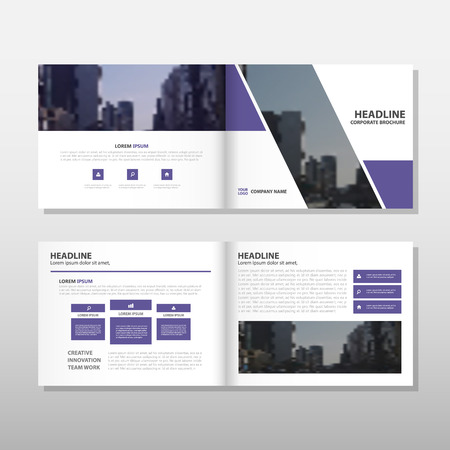 business book: Purple Brochure Leaflet Flyer annual report template design, book cover layout design, abstract business presentation template, a4 size design vector