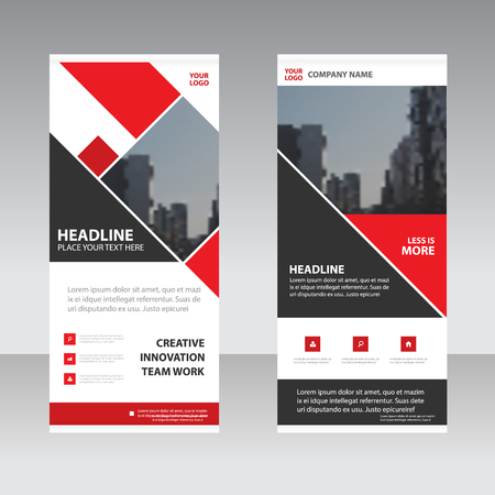 Red square Business Roll Up Banner flat design template ,Abstract Geometric banner template Vector illustration set, abstract presentation template