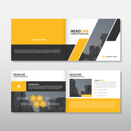 proposal: Yellow black annual report Leaflet Brochure Flyer template design, book cover layout design, abstract business presentation template, a4 size design