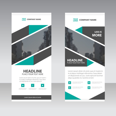 Green black abstract Business Roll Up Banner flat design template ,Abstract Geometric banner template Vector illustration set, abstract presentation template Vectores