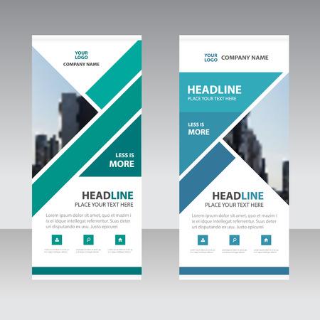 Zielony Niebieski trójkąt firm Roll Up Banner szablon płaska, streszczenie Geometryczne transparentu szablonu Zestaw ilustracji wektorowych, szablon streszczenie prezentacji Ilustracje wektorowe