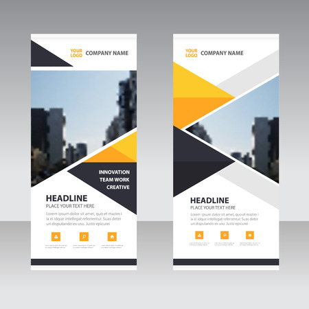 Geel zwart driehoekje Zakelijk Roll Up Banner platte design template, Abstracte Geometrische banner template Vector illustratie set, abstracte voorstelling template