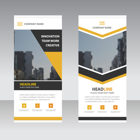 trades: Yellow black triangle arrow Business Roll Up Banner flat design template ,Abstract Geometric banner template Vector illustration set, abstract presentation template Illustration
