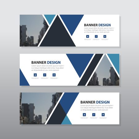 website design: Blue triangle abstract corporate business banner template, horizontal advertising business banner layout template flat design set , clean geometric abstract cover header background template for website design, Illustration