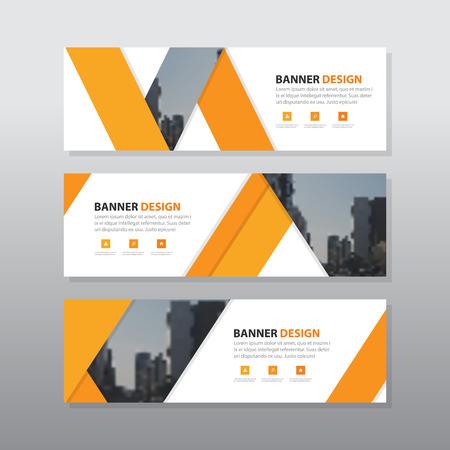 オレンジ色の三角形抽象企業バナー テンプレート、水平広告ビジネス バナー レイアウトのテンプレート フラットなデザインの設定、きれいな幾何