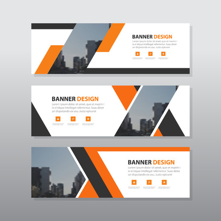 website header: Orange black abstract corporate business banner template, horizontal advertising business banner layout template flat design set , clean geometric abstract cover header background template for website design, Illustration