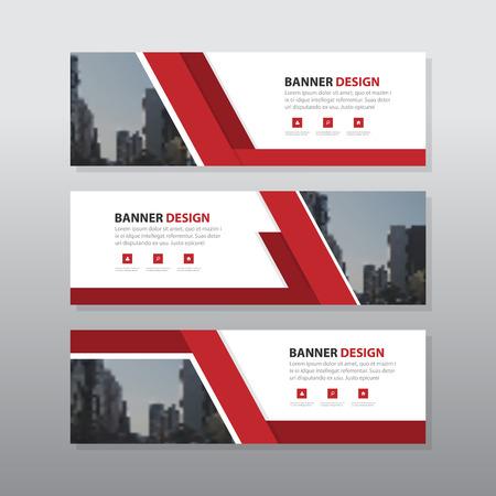 레드 추상 회사 비즈니스 배너 템플릿, 수평 광고 사업 배너 레이아웃 템플릿 평면 디자인 설정, 웹 사이트 디자인을위한 깨끗한 기하학적 추상 커버  일러스트