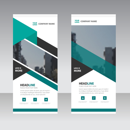 screen print: Green black triangle abstract corporate business banner template, horizontal advertising business banner layout template flat design set , clean abstract cover header background for website design Illustration