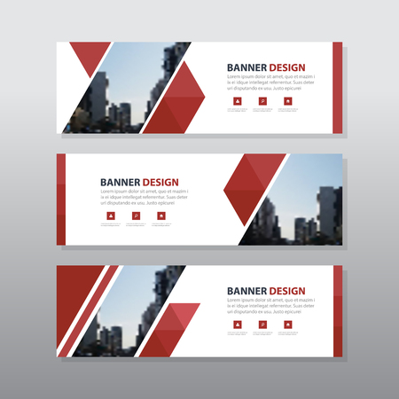 Red triangle abstract corporate business banner template, horizontal advertising business banner layout template flat design set , clean abstract cover header background for website design 向量圖像